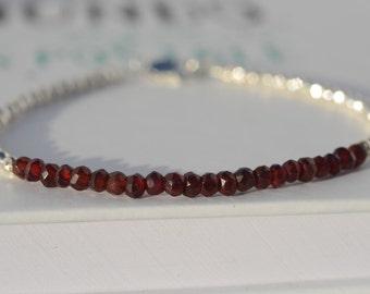 Dainty Garnet bracelet. Natural Garnet bracelet. Sterling Silver Garnet bracelet. Layering bracelet. Stacking bracelet. Minimalist jewelry