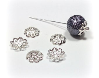 50 bead caps filigree flat style 7 mm flower
