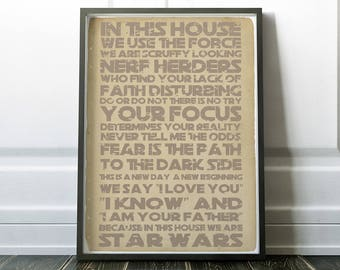 In this house Star Wars Vintage Distressed Poster Inspiration Poster Star Wars Quotes Yoda Luke Skywalker Star Wars Fan Housewarming Gift