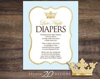 Instant Download Blue Gold Prince Late Night Diapers, 8x10 Blue Crown Diaper Thoughts, Royal Prince Baby Shower Decorate Diaper Activity 66B