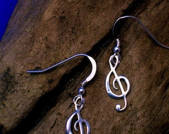 Treble Clef Earrings, Silver, Music Note Earrings, Music  jewellery, G- clef, Music Jewellery,  Gift for Musician, Gift wrapping available.