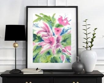 Daisy Painting, Flower Wall Art, Flower Wall Decor, Flower Art, Watercolor Floral, Flower Print Wall Art, Watercolor Art Floral 11x14 8x10