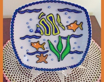 """Decorative Plate """"below the sea"""" and stand -Treasury Item"""