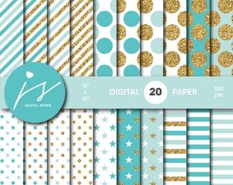 Turquoise and Mint gold glitter digital paper, Patterns, Backgrounds, Mint and Turquoise glitter gold digital scrapbooking, MI-752