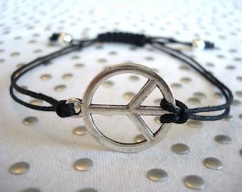Peace Sign Bracelet Silver Charm