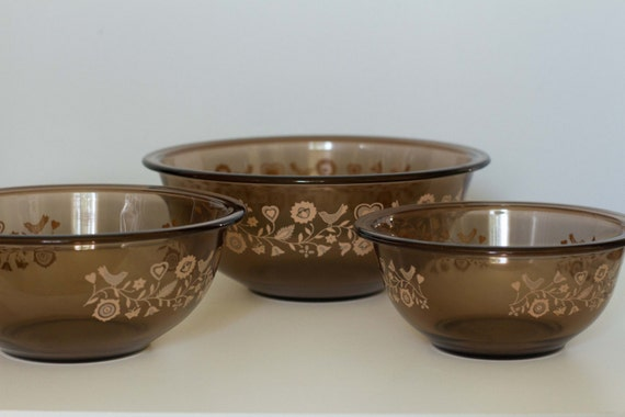 Pyrex Brown Visions Set of 3 Nesting Bowls with Pink Festive Harvest ...
