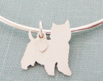 West Highland Terrier Dog Bangle Bracelet, Westie Sterling Silver Personalize Pendant, Westy Breed Silhouette Charm, Rescue Shelter