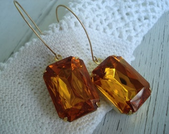 SALE Vintage Faceted Topaz Czech Crystal Glass Gold Earrings