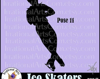 Men's Ice Skaters Silhouette pose 11  - with 1 EPS, SVG & PNG Male skaters Clip Art digital graphics + scl Vinyl ready images