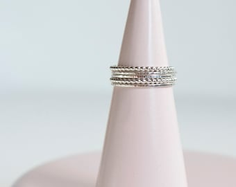Stacking Silver Rings - Skinny and Perlisienne Rings - Sterling Silver Mix and Match - Semainier - Wedding Band - Five Rings Set