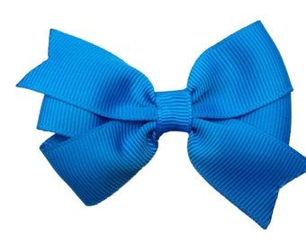 Aegean blue hair bow - blue bow, 3 inch bows, girls hair bows, girls bows, toddler bows, baby bows, blue hair bows, hair bows, blue bows