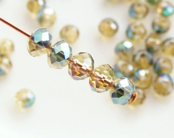 Crystal Beads 4x3mm Faceted Rondelles Iridescent Coated Dark Goldenrod Abacus (Qty 25) PH-4x3R-CDG