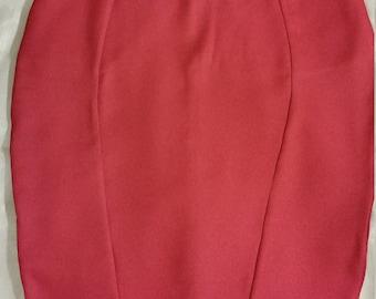 Women's red midi pencil skirt