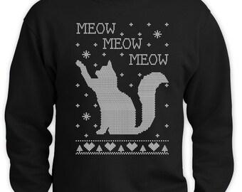 Cats Ugly Christmas Sweater Funny Men Sweatshirt