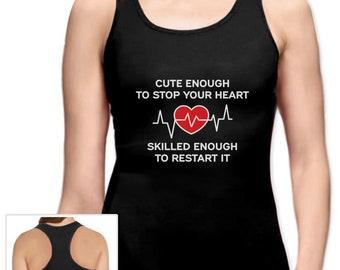 Restart Your Heart Funny Gift For Nurse Racerback Tank Top