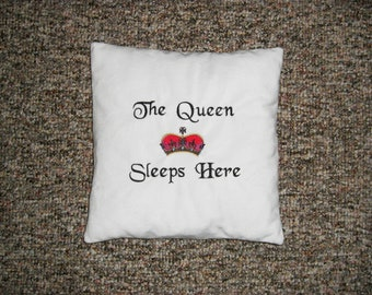 The Queen Sleeps Here White Velvet Embroidered Pillow, Novelty Pillow, Pillow with words, Decorative Pillow