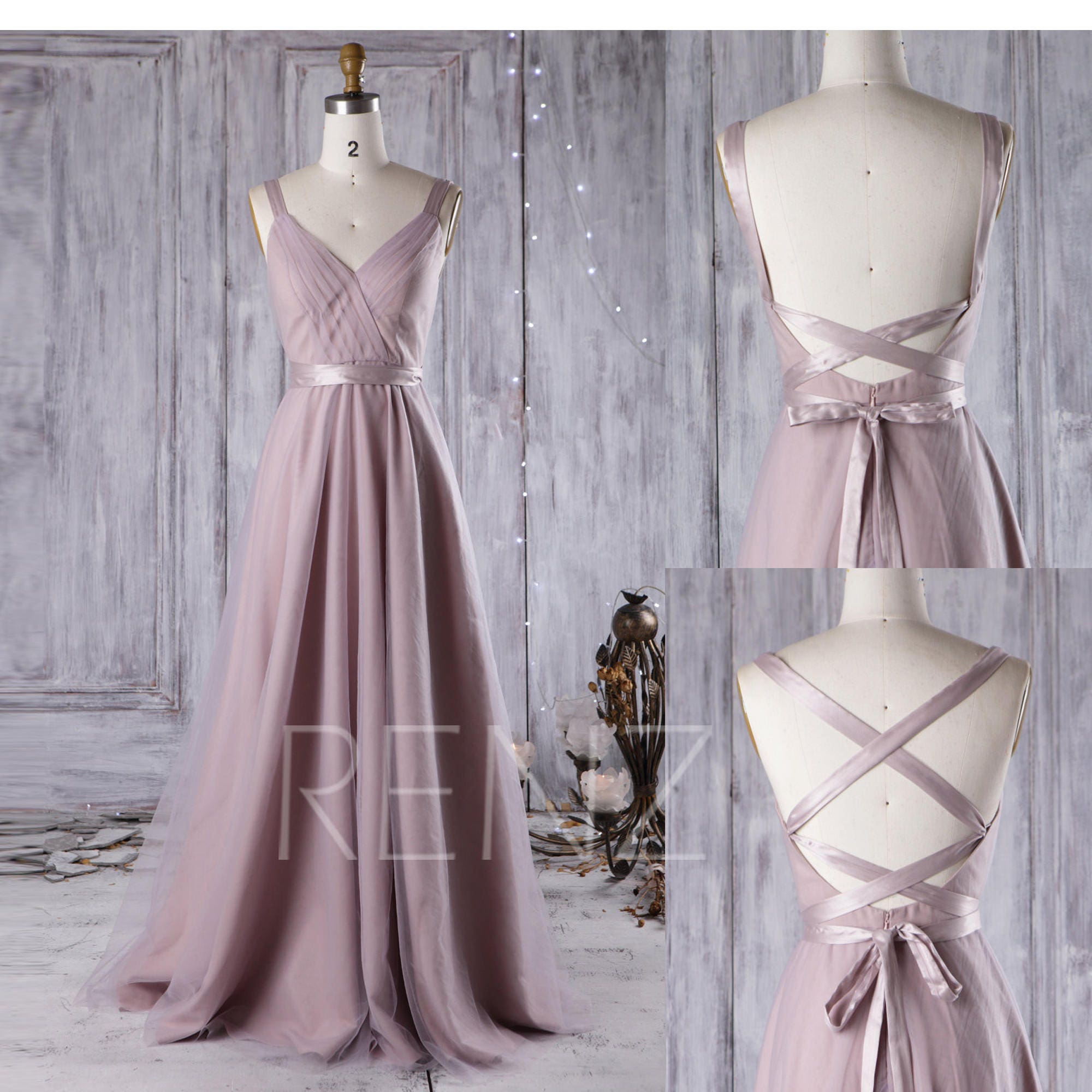 Lila Brautjungfer Kleid Cabrio Riemen A Linie Hochzeitskleid
