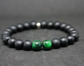 """Bracelet set Simply the """"GreenYxTiger"""" Onyx and Tiger's eye green Beads"""