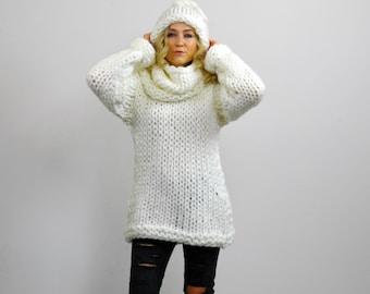 Versatile Oversized Chunky Knit Cowl Neck Sweater