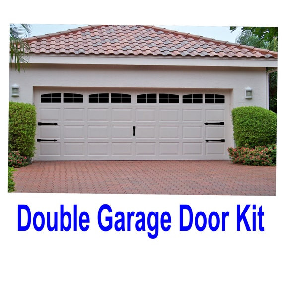 carriage house style vinyl garage door decal kit faux windows. Black Bedroom Furniture Sets. Home Design Ideas