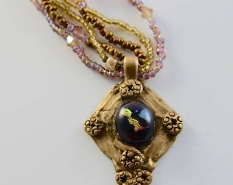 Bronze Metal Clay Necklace, Dichroic Glass, Beaded, Handmade