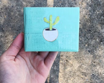 Cactus Wallet, Succulent, Cute Gift, Duct Tape Wallet, Gift for Her Teens Girlfriend Mom, Pastel, Gold, Hipster Wallet, Mint Green Wallet