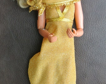 Bionic Woman Doll, Jamie Sommers Doll, 1974, Gold Dress, 1970s TV Toy