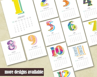 2018 Printable Wall Calendar Printable 2018 Calendar Geometric Design Printable Monthly Calendar Instant Download Calendar Housewarming Gift