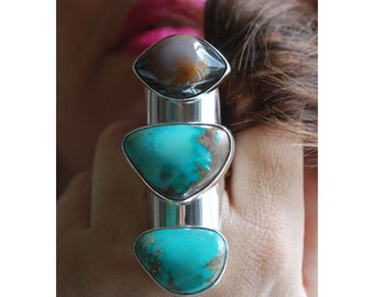 Dollybird Third Eye Ring Turquoise and Agate