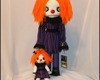 OOAK Hand Stitched Clown Rag Doll Creepy Gothic Folk Art By Jodi Cain Tattered Rags