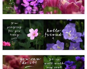 Purple Floral Encouraging Quote Cards   Inspirational   Friendship   Bible Verse   Printable