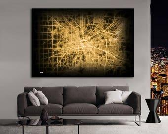 DAYTON Ohio Night Lights Map Large Horizontal Wall Art Map Dayton OH Modern Art Neon City Street Map of Dayton NLM