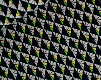 Retro Triangles (Black) - European Fabric - 100% Soft Cotton - 1 Yard