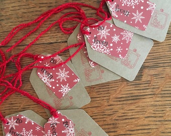 Peppermints and Snowflake Tags - Christmas Tags - Red Sleigh Gift Tags