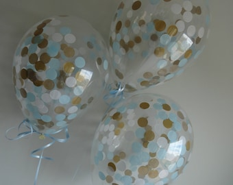 """8 or 16 Count: 11"""" Light Blue, Gold, & White Confetti Balloons- Shower, Birthday, Baby, 1st, Boy, Water, Wedding, Winter, Baptism, Holidays"""