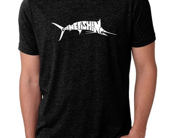 Men's Premium Blend Word Art T-shirt - Marlin - Gone Fishing