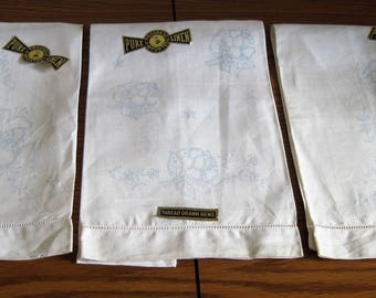3 Vintage Progress Pure Linen Imported Hand Towels Tea Towels To Complete Floral Embroidery Work Circa 1950's