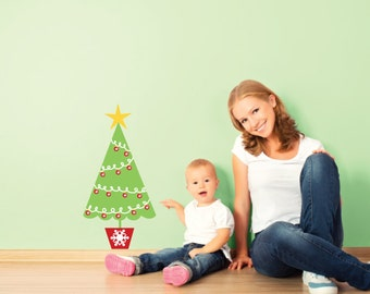 Christmas Tree Wall Decal - Repositionable Holiday Wall Decals