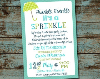 Baby Sprinkle Invitation, Twinkle Twinkle It's a Sprinkle, Baby Boy Shower Invitation Digital File DIY