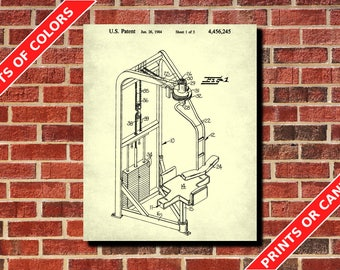 Gym Poster Weight Lifting Poster Exercise Equipment Patent Print Exercise Equipment Blueprint