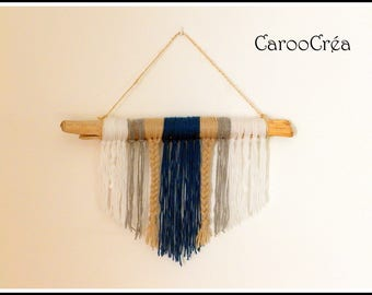 Woven wall hanging wool wall hanging, wall hanging driftwood and wool