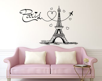 Eiffel Tower Wall Decal Paris Silhouette Vinyl Stickers Decals Art Home Decor Mural Vinyl Lettering Wall Decal France Bedroom Dorm x252
