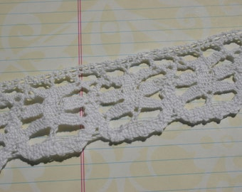 "White Cluny Lace - Crochet Trim - Pinwheel Design - 1"" Wide"