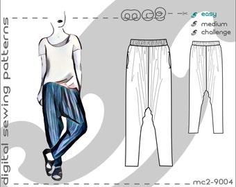 Classy Harem Sarouel Afghan Pants with Pockets (sizes S-M-L-XL) Digital PDF Sewing Pattern for Women >mc2patterns< mc2-9004
