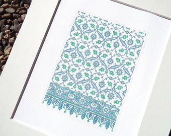 Moorish Tile Pattern 5 in Soft Blue Chambray, Pale Green & Cream Archival Quality Print