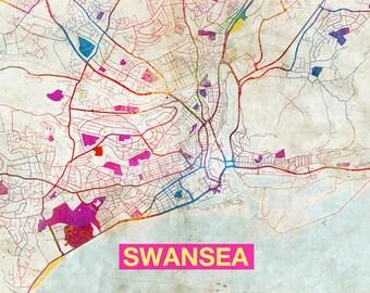 Swansea map Etsy
