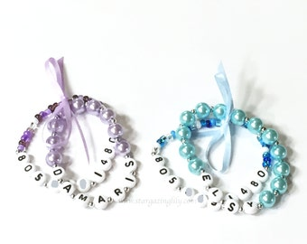 Name and Phone Number bracelet. YOU CHOOSE the bead color. Size to fit by age. Find Me Fast, Id, Ice, Bracelet.