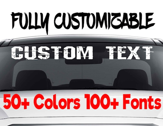 Custom windshield decals word and number car truck window