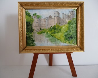 """A one 12th scale miniature""""Warwick Castle"""".- Original Acrylic Painting"""
