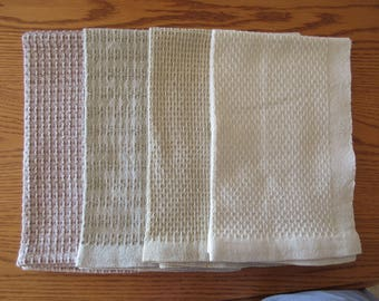 Handwoven towels in Huck Lace weave